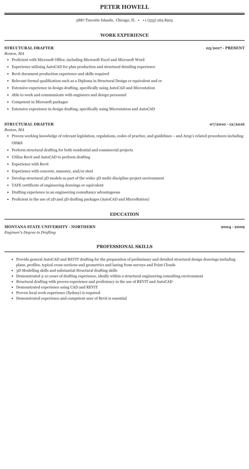 Structural Drafter Resume Sample Mintresume