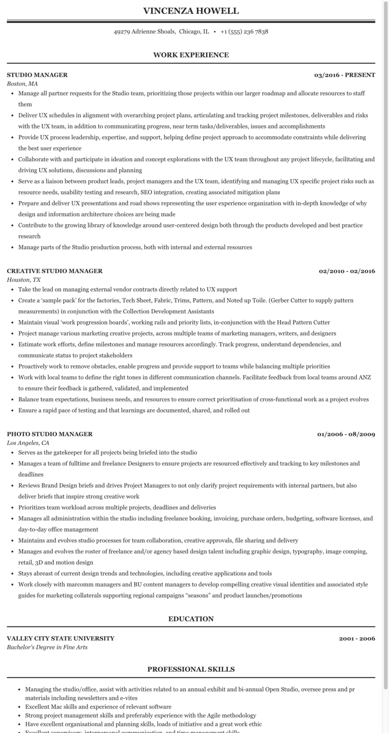 Photography studio manager resume sample advertising professionals resume