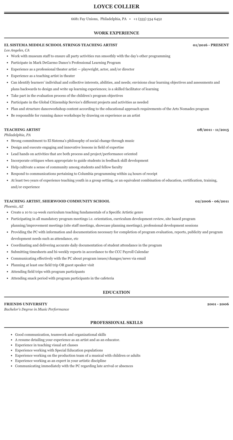 Teaching Artist Resume Sample Mintresume