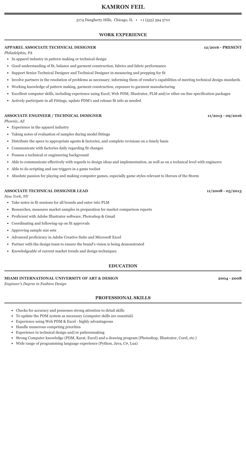 Technical Designer Associate Resume Sample Mintresume