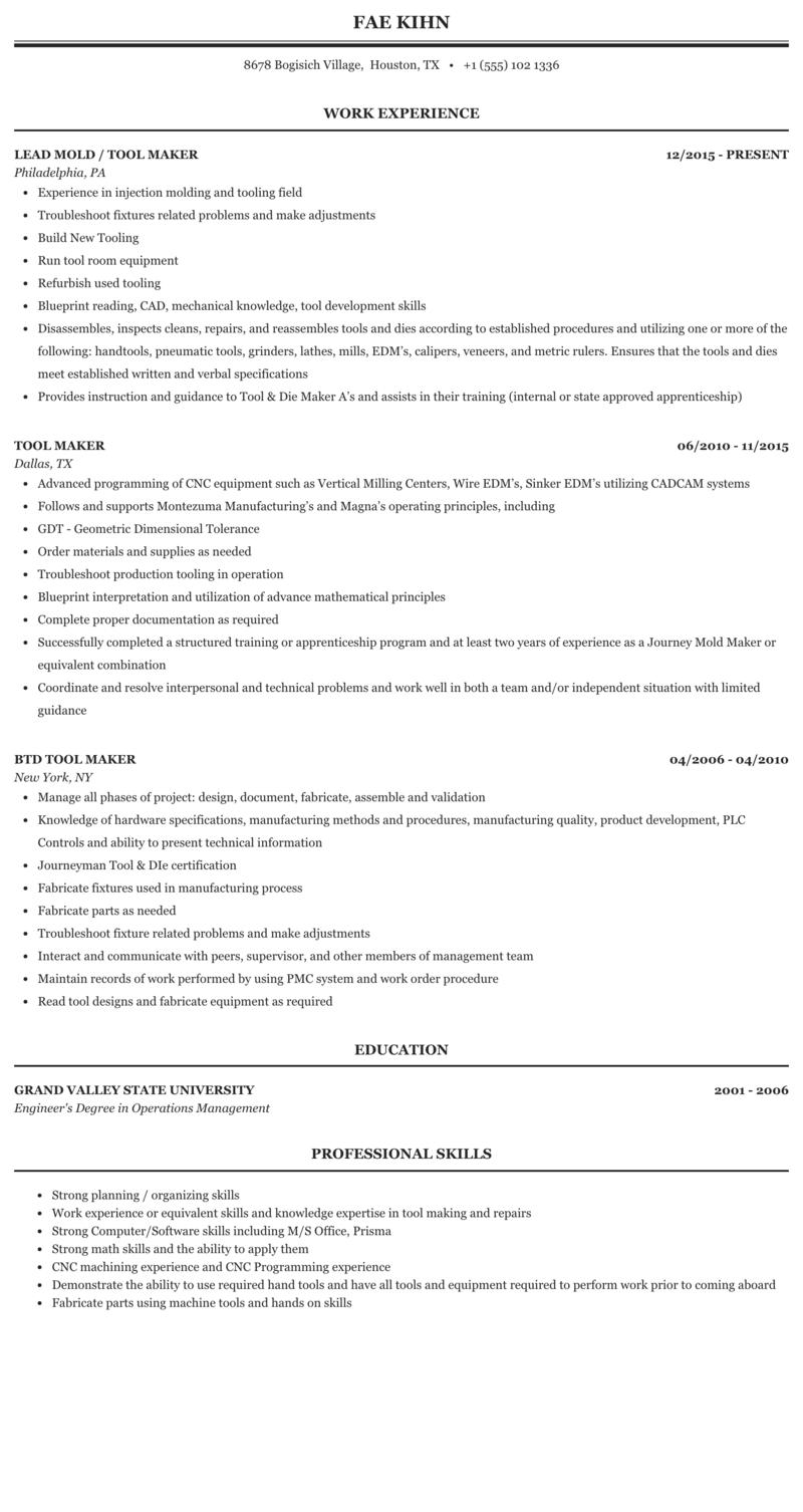 Tool Maker Resume Sample | MintResume