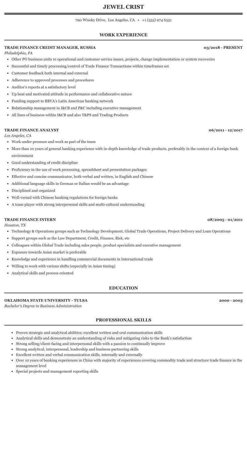Trade Finance Resume Sample   MintResume