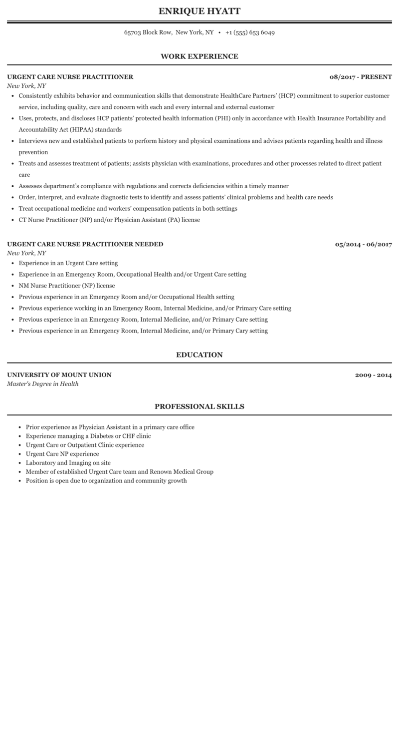 Urgent Care Nurse Practitioner Resume Sample Mintresume