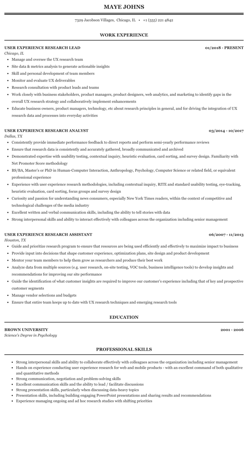 ux researcher resume