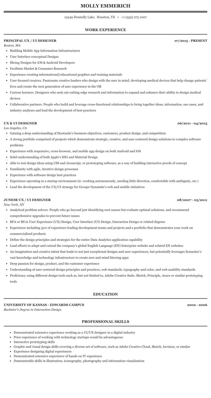 Ux Ui Designer Resume Sample Mintresume