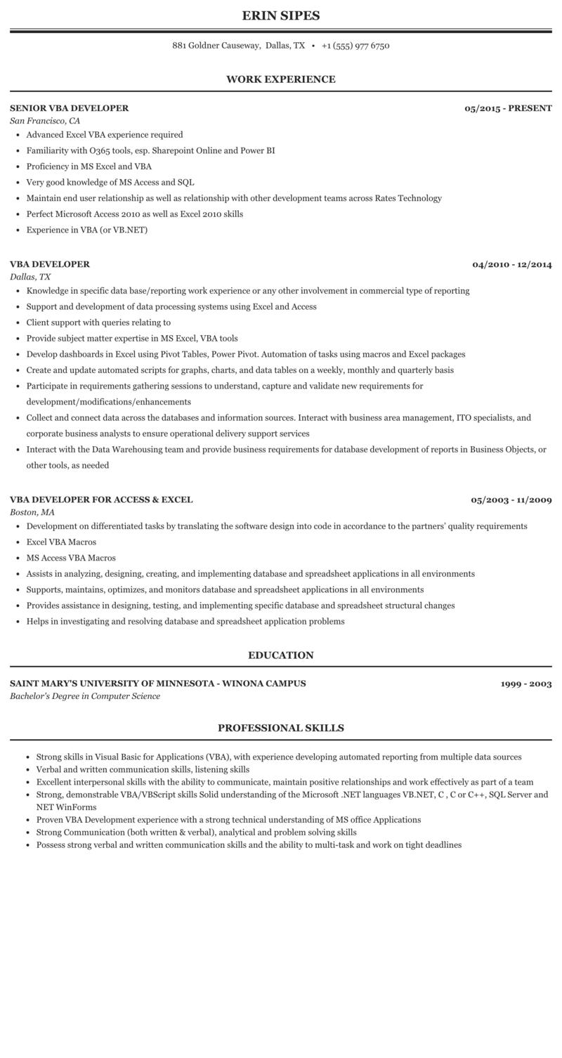 Vb6 developer resume critical analysis essay title