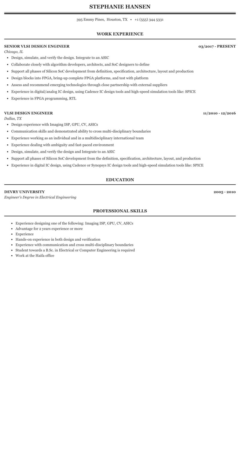 Vlsi Design Engineer Resume Sample Mintresume