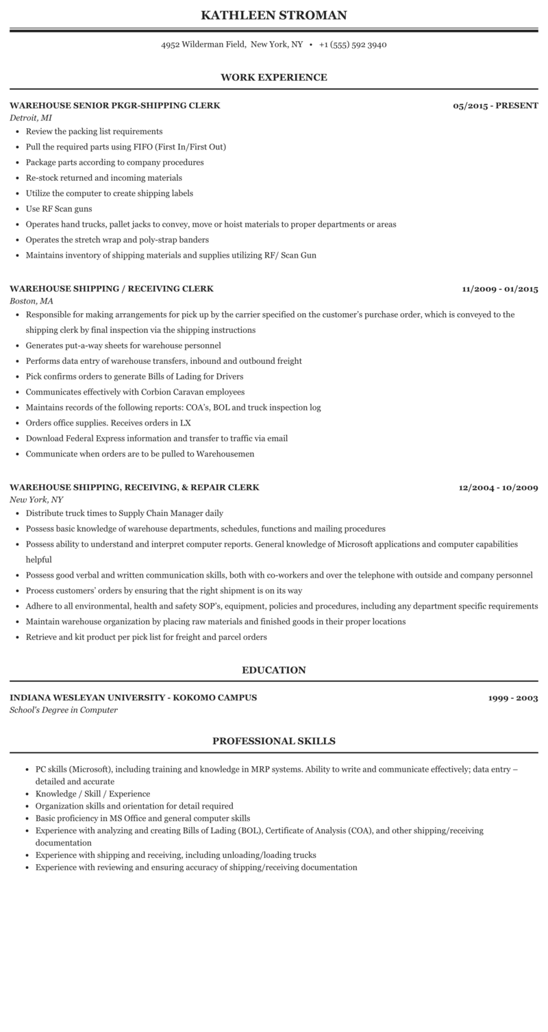Professional shipping receiving resume how to start a personal statement for college
