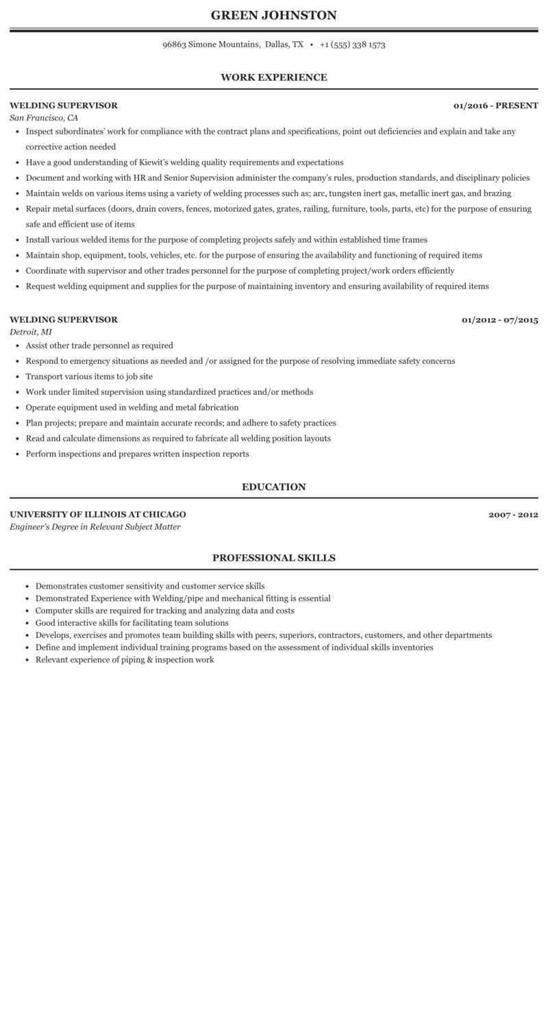 Welding Supervisor Resume Sample Mintresume