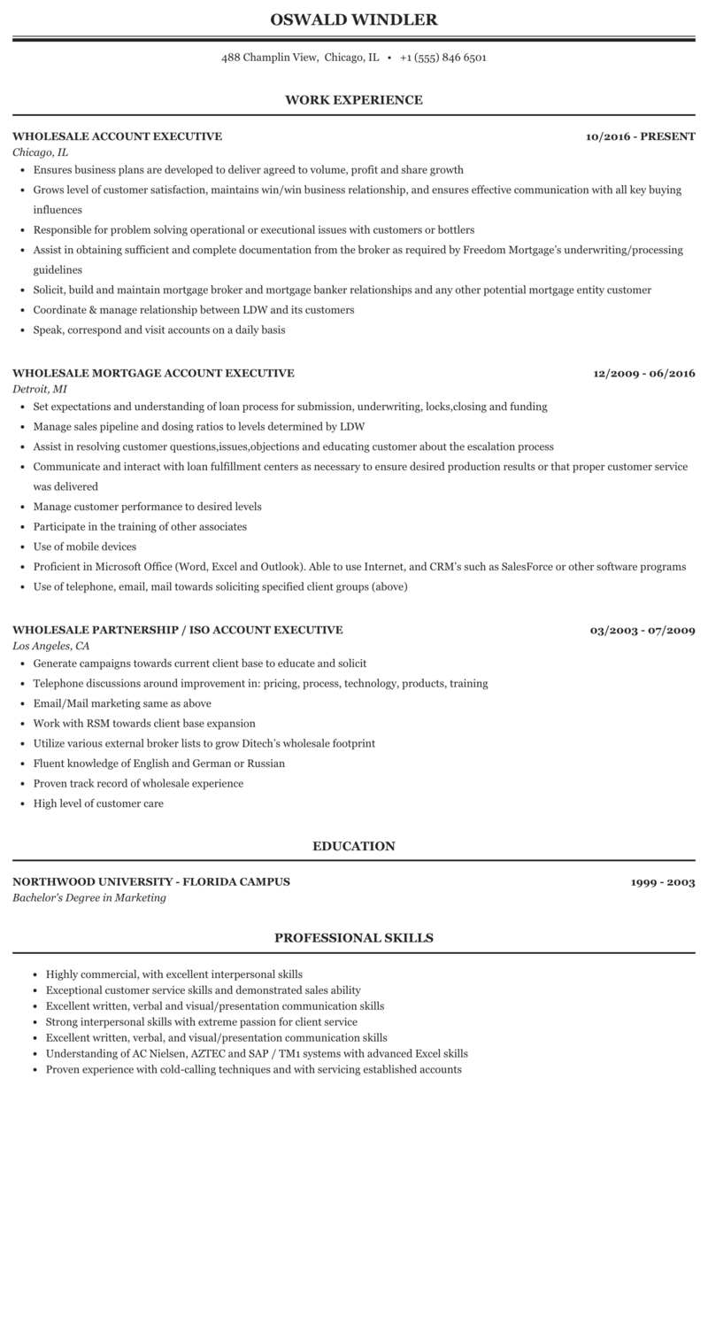 Account executive mortgage resume thesis of business administration