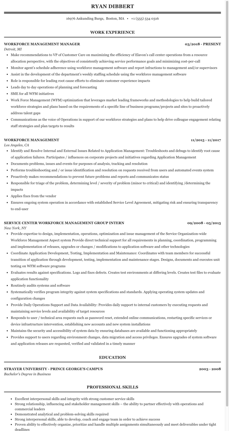 Workforce Management Resume Sample | MintResume